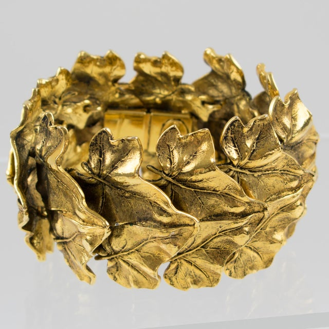 Sonia Rykiel Paris Link Bracelet Massive Gilt Metal Textured Leaves For Sale - Image 9 of 9