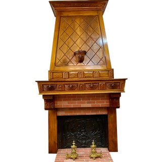 Early 1900s Antique French Art Nouveau Carved Walnut Fireplace Mantel For Sale