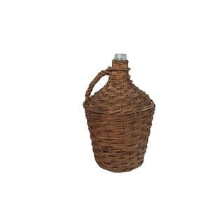 Antique Extra Large Wicker Wrapped Blue Green Glass Bottle Demijohn For Sale