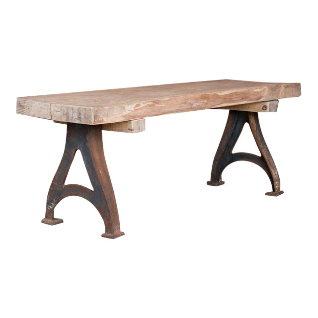 1920s Rustic Wood Console Table With Industrial Cast Iron Legs For Sale