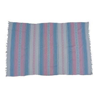 Vintage Pink & Blue Striped Mexican Blanket Serape