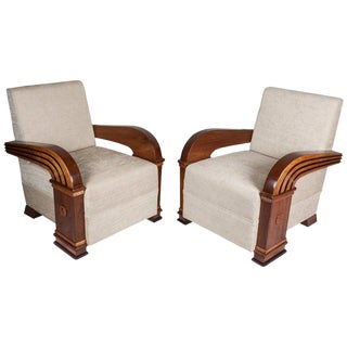 Art Deco Teak Club Chairs, European - a Pair For Sale