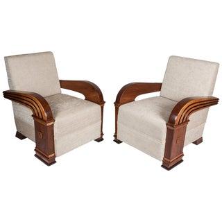 Pair of Art Deco Teak Club Chairs, European For Sale
