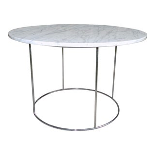 Hugh Acton Chrome White Marble Top Coffee or Side Table