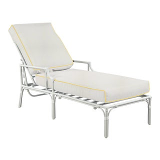 Haven Outdoor Chaise, White and Sunflower Yellow For Sale