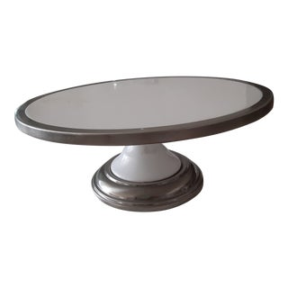 Chrome and White Ceramic Cake or Pastry Stand For Sale