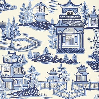 Sample - Schumacher Nanjing Chinoiserie Wallpaper in Porcelain Blue For Sale
