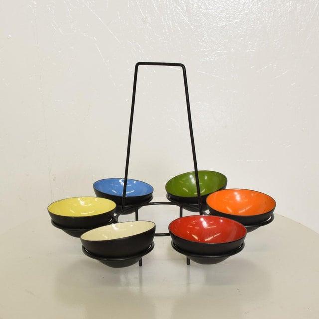 Contemporary Mid-Century Modern Center Piece Enamel Bowls - 6 Pc. Set For Sale - Image 3 of 10