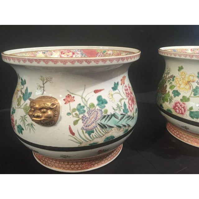 Pair of Chinese Famille Rose Cachepots For Sale - Image 4 of 8