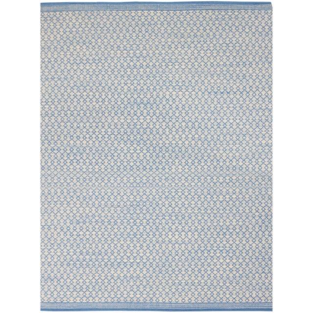 Loft Modern Blue Flat-Weave Rug 3'x5' For Sale - Image 4 of 4