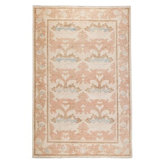 "Contemporary Arts & Crafts Pink Hand-Knotted Rug- 6' 1"" X 9' 4"" For Sale"