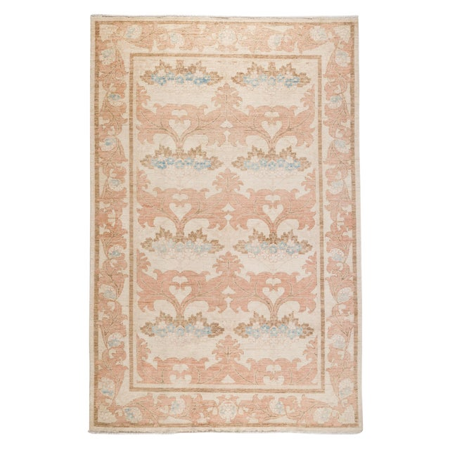 """Contemporary Arts & Crafts Pink Hand-Knotted Rug- 6' 1"""" X 9' 4"""" For Sale"""