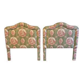 Chinoiserie Upholstered Twin Headboards - a Pair For Sale