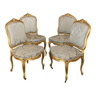 Set of Four 19th Century French Louis XV Giltwood Chairs For Sale