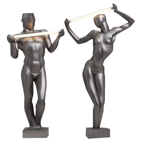 A Rare Pair of Spanish Resin Figural Lamps 1985 Stamped - Image 1 of 6