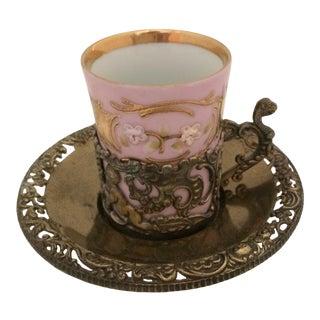Vintage Pink Porcelain Demitasse Cup & Saucer Brass Cup Holder & Saucer W Cherub - 3 Pieces For Sale