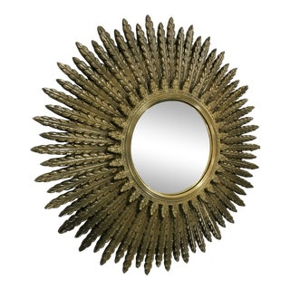 Early 20th Century Guitwood Convex Sunburst Mirror For Sale
