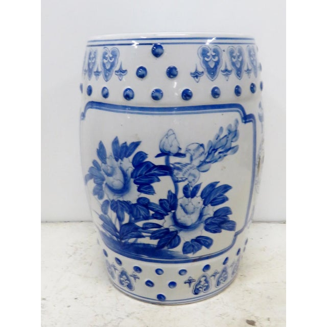 Chinese Floral Blue & White Gargen Stool For Sale - Image 4 of 4