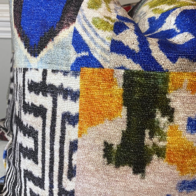 """Custom pair of 22"""" pillows covered in a light weigh velvet fabric printed with a collaged okay pattern. These pillows have..."""