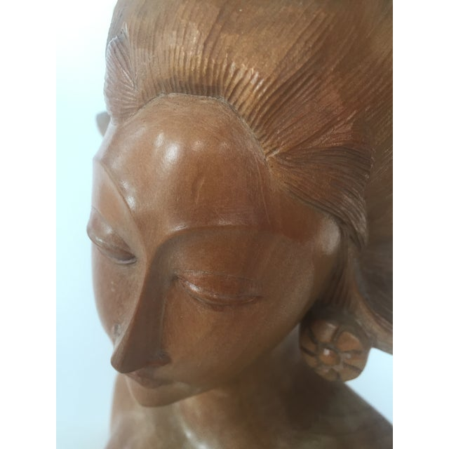 Asian Antique Balinese Hand Carved Satinwood Sculpture of Woman For Sale - Image 3 of 8
