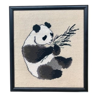 Framed Asian Panda Bear & Bamboo Needlepoint For Sale