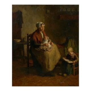 """Mother and Her Children"" Antique Interior Painting by Bernard De Hoog (Dutch, 1866-1943) For Sale"