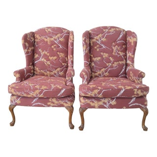 Vintage Quilted Wingback Chairs - A Pair For Sale