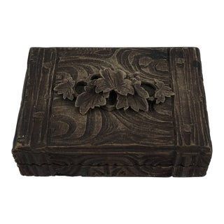 Petite Carved Wooden Box For Sale