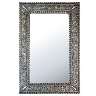 Moroccan Handcrafted & Engraved Metal Mirror For Sale