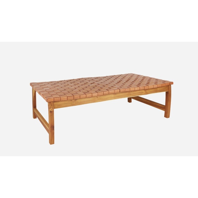 Leather laguna strap bench. Handmade with 100% natural leather with teak frame.