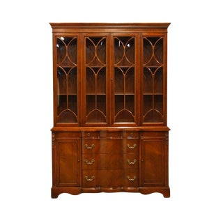 1940s Vintage French Provincial Style Breakfront China Cabinet For Sale