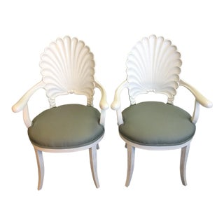 Shell Back Occasional Armchairs - A Pair