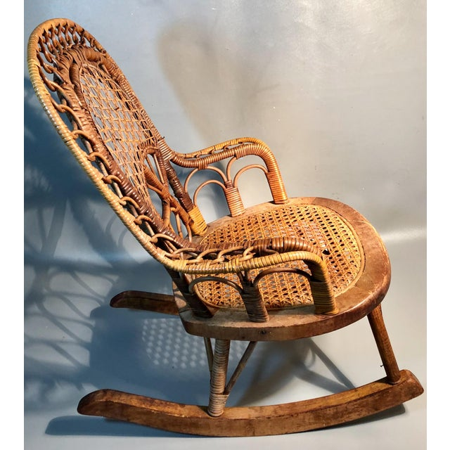 Wicker Late 19th Century C1860 Victorian Childs Rocking Chair Wicker Rattan Rocker Attrib. To Heywood Wakefield For Sale - Image 7 of 8