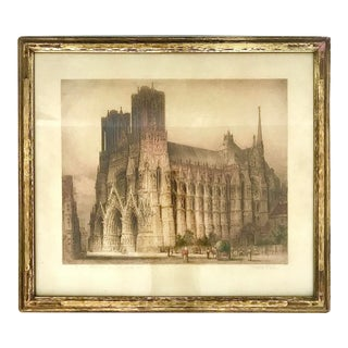 Early 20th Century Giltwood Framed Etching of Rheims Cathedral From the South West, France For Sale
