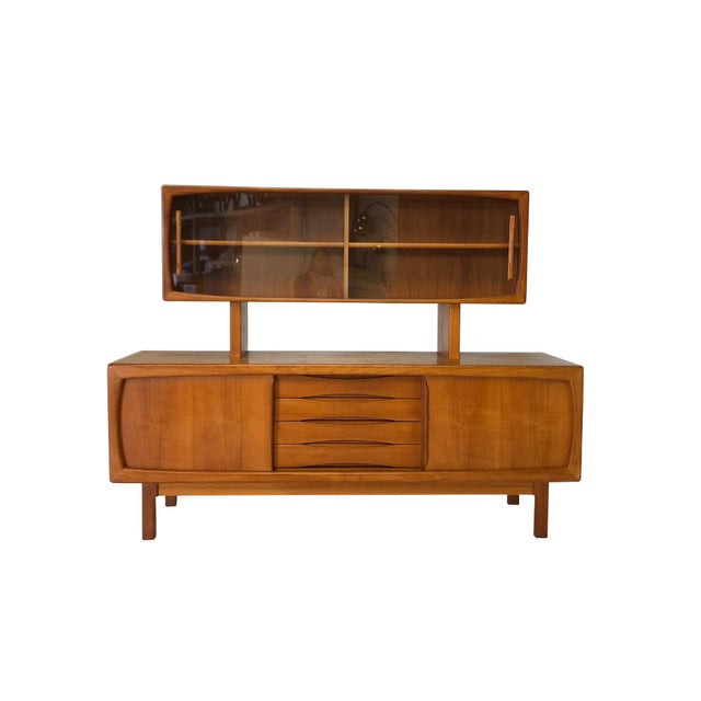 Danish Modern Teak Sideboard and Hutch For Sale - Image 10 of 10