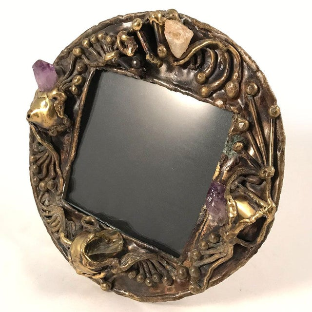 Exquisite hand-forged brass picture frame with inset semi-precious stones, circa 1970s. Brass has mellowed to a deep ochre...