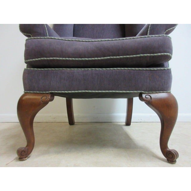 Textile Vintage Purple Wingback Chair For Sale - Image 7 of 11