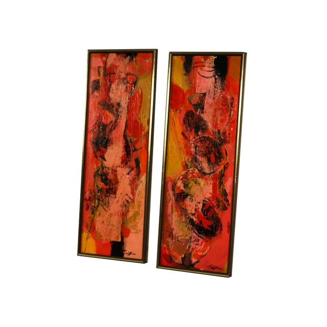 "Pink Mid Century Abstract Expressionist Oil paintings signed ""Griffin"" - a Pair For Sale - Image 8 of 11"
