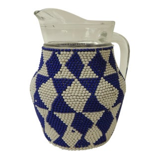 Small Vintage Glass Milk Jug With Handcrafted Artisanal Woven Beaded Cover For Sale