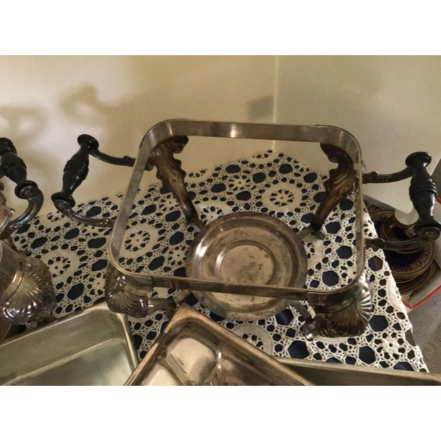 Silver Vintage Silverplate Covered Buffet Server Chafing Dish a Pair For Sale - Image 8 of 12