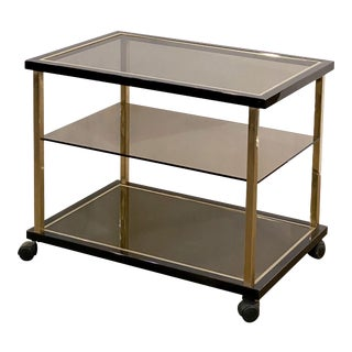 Belgian Three-Tier Drinks Cart of Smoked Glass and Brass by Belgo Chrom For Sale