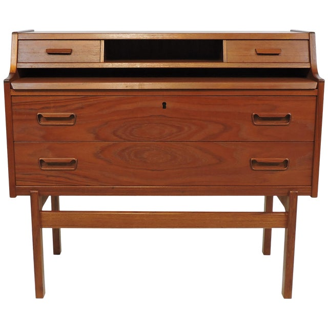 Arne Wahl Iversen Danish Modern Teak Secretary Desk Model 70 For Sale