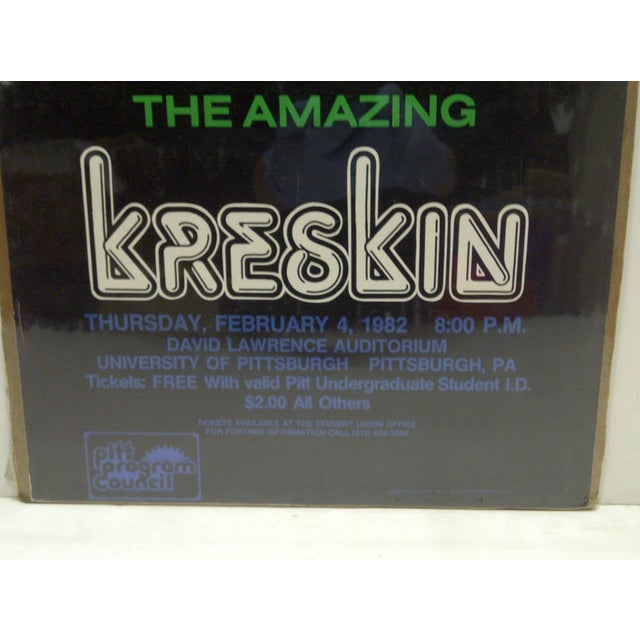 "1982 Vintage ""The Amazing Kreskin"" University of Pittsburgh Show Poster For Sale - Image 4 of 4"