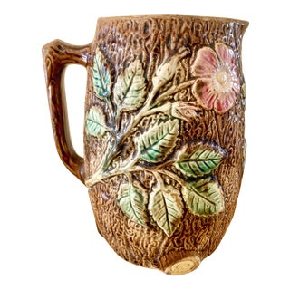 Vintage Ceramic Majolica Pitcher For Sale