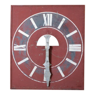 Vintage Red Clock Face For Sale
