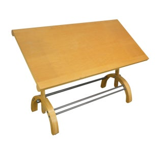 Wendy Joseph Maple Wood Modernistic Drafting Table For Sale