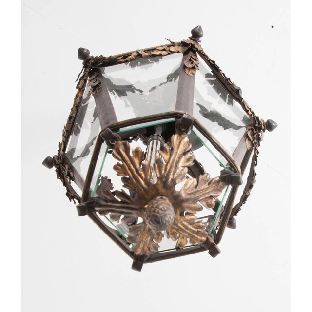 French 19th Century Iron and Gilt-Brass Single-Light Lantern For Sale - Image 10 of 13
