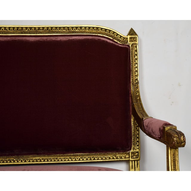 Vintage 1950s Louis XVI-Style Gilt Wood Sofa - Image 5 of 9