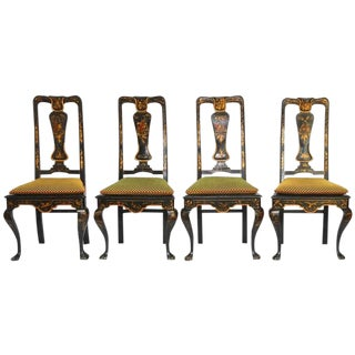 Set of Four Queen Anne Style Chinoiserie Painted Dining Chairs For Sale