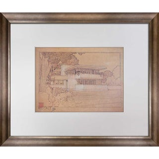 """Frank Lloyd Wright Lithograph Limited Ed. """"...Thomas Gale House, Illinois"""" With Frame Included For Sale"""